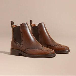 Burberry Leather Wingtip Chelsea Boots BrightCamel